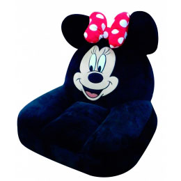 Puff de Fibra Preto Minnie Disney